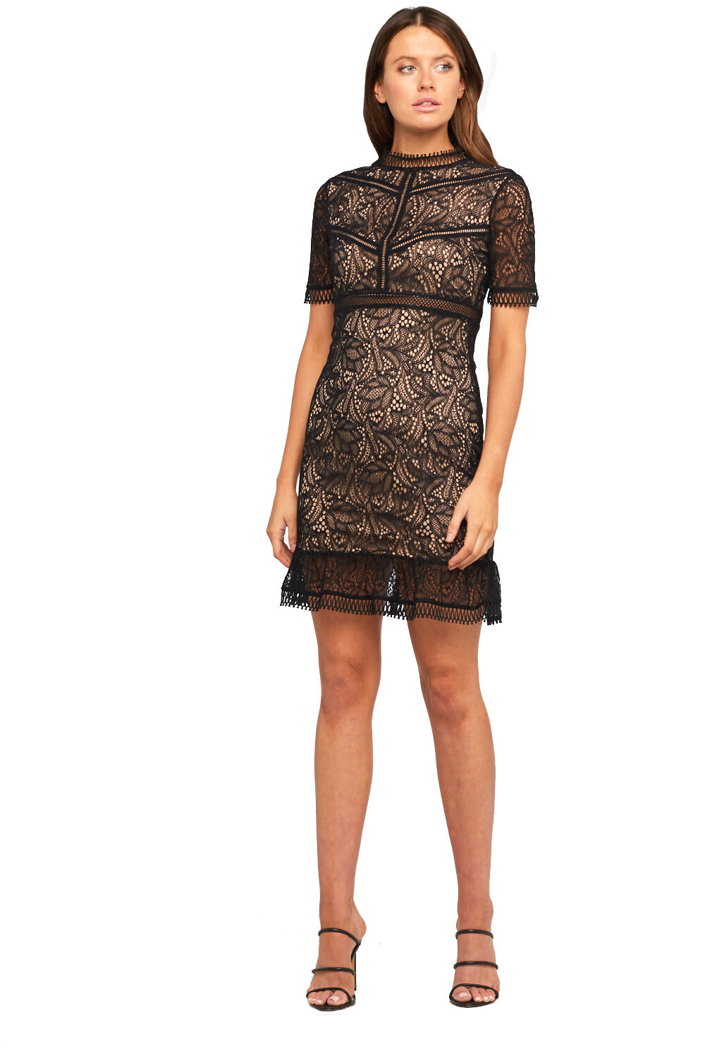 THEODORA LACE DRESS in colour CAVIAR