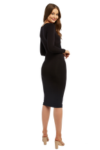 TWIST FRONT KNIT DRESS in colour CAVIAR