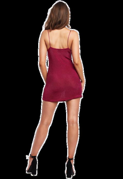 DANI LUREX MINI DRESS in colour FUCHSIA PURPLE