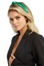 KNOT SATEEN HEADBAND in colour GREEN ASH