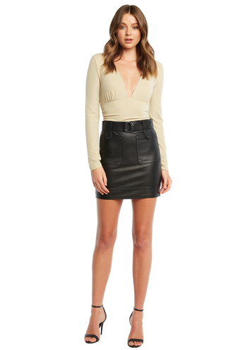KELIS PU POCKET SKIRT in colour CAVIAR