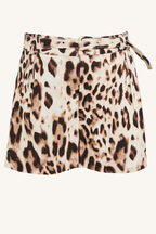 LEOPARD LINEN SHORT in colour BUTTERUM