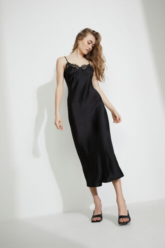 LACE MIDI SLIP DRESS in colour CAVIAR