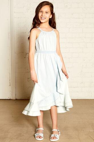NADIA RUFFLE DRESS in colour CASHMERE BLUE