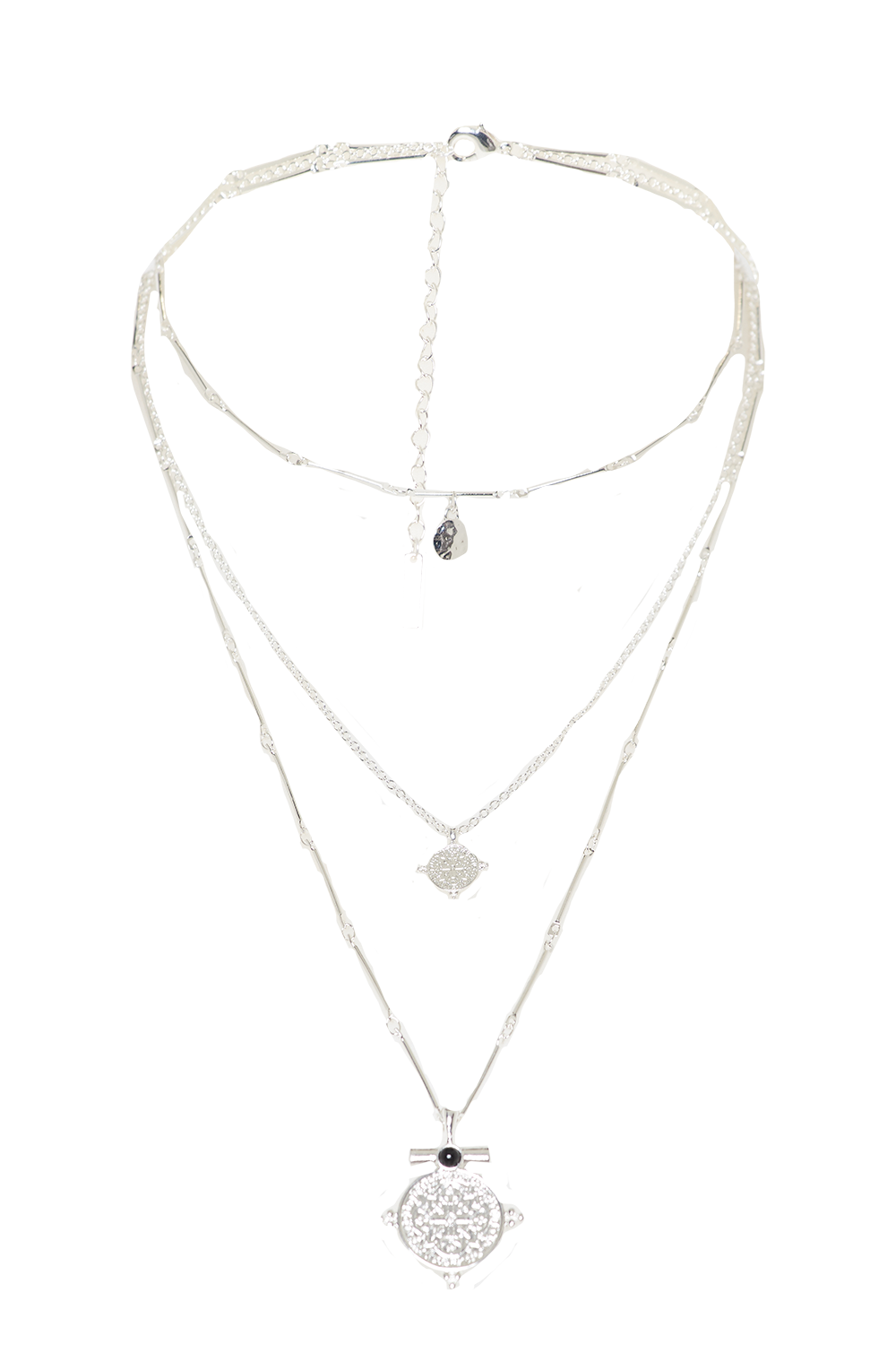 TRIPLE HIGH NECKLACE in colour SILVER