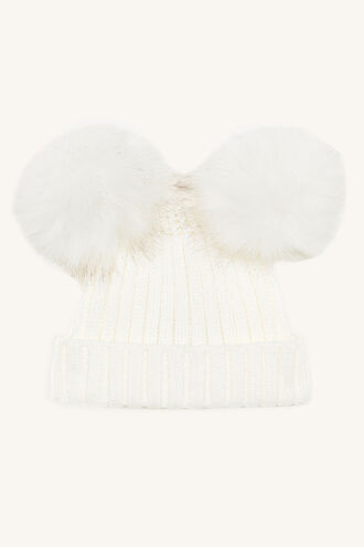 DOUBLE POM BABY BEANIE in colour CLOUD DANCER