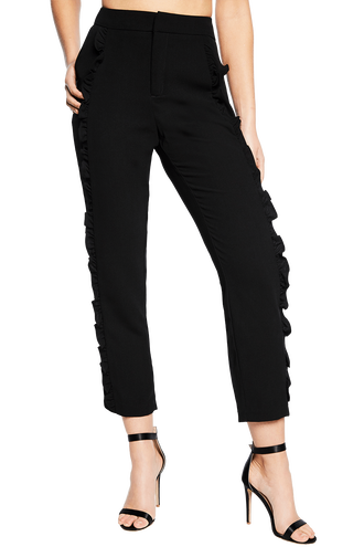 FRILL CIGARETTE PANT in colour JET BLACK