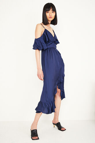 BEA WRAP DRESS in colour MARITIME BLUE