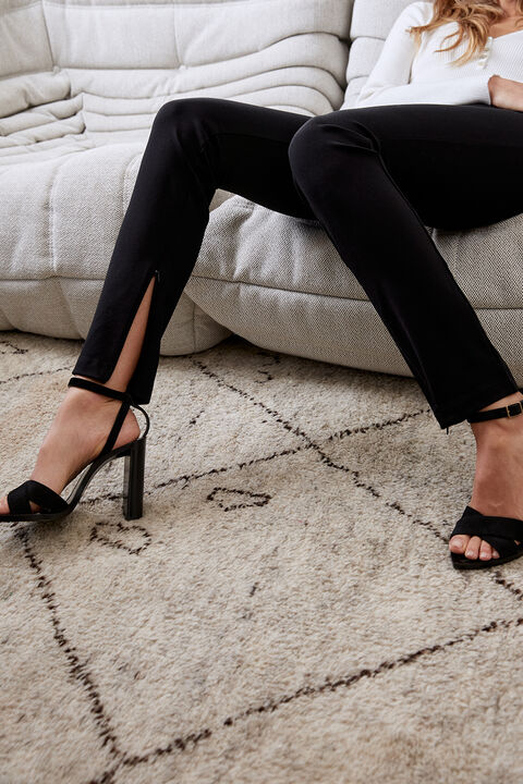 PONTI ANKLE ZIP PANT in colour CAVIAR