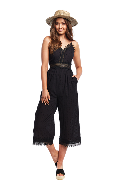 DOBBY LACE JUMPSUIT in colour CAVIAR