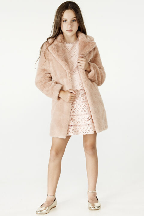 TWEEN GIRL FAUX FUR MIDI COAT