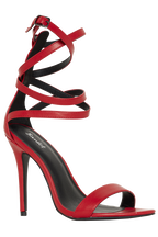 DOUBLE CROSS OVER BUCKLE HEEL in colour RED BUD