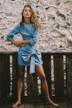 DENIM WATERFALL DRESS in colour WINTER SKY