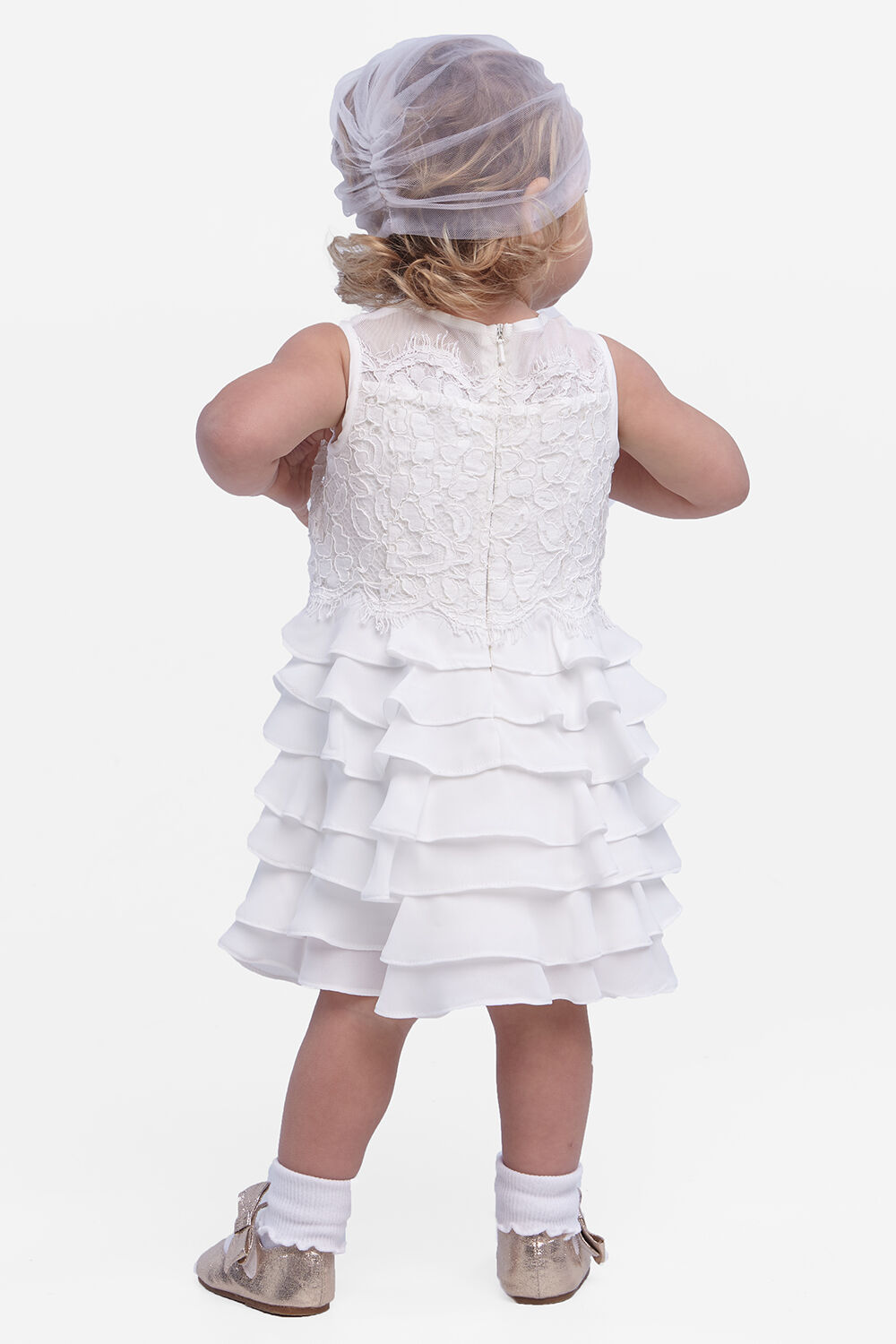 baby girl sienna tiered dress in colour CLOUD DANCER