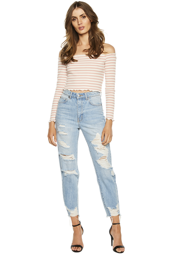 CARLY RIB CROP TOP in colour CAMEO BROWN