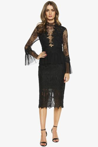FRANKIE LACE DRESS in colour CAVIAR