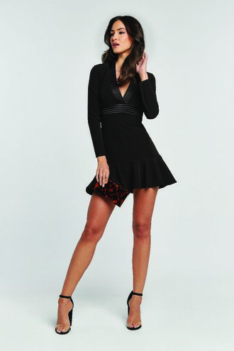MINI RUFFLE DRESS in colour CAVIAR