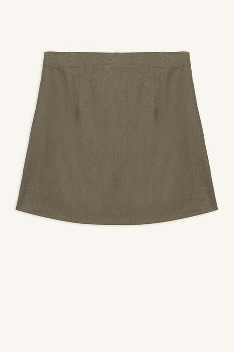 LEONIE BUTTON SKIRT in colour IVY GREEN