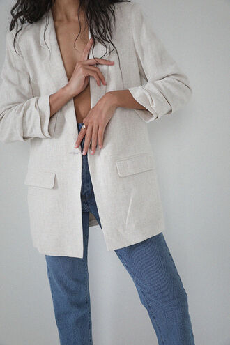 TUCKSLV LINEN BLAZER in colour MOONLIGHT