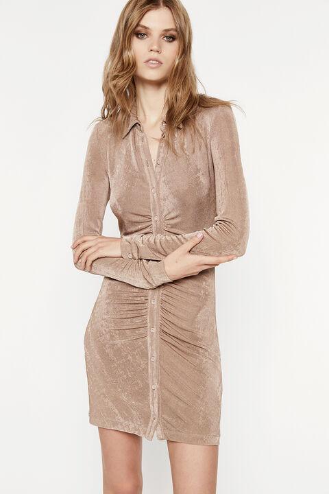 THE GATHERED SLINKY DRESS in colour SAFARI