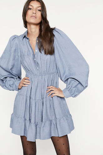 THE MINI SHIRT DRESS in colour CERULEAN