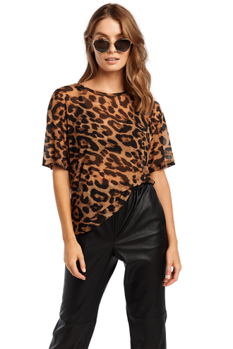LEOPARD MESH TEE in colour THRUSH