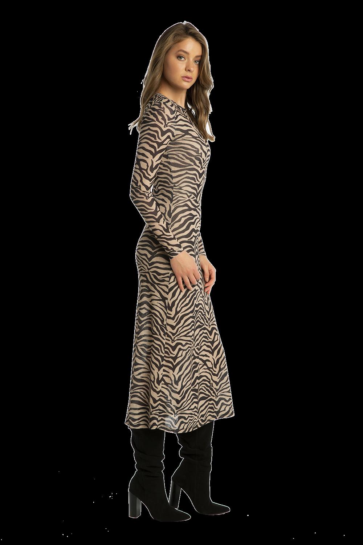 ZEBRA MESH DRESS in colour TAPIOCA