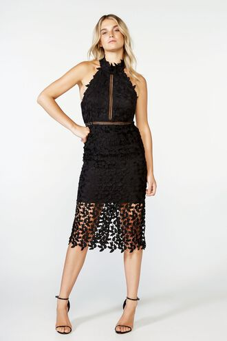GEMMA HALTER DRESS in colour CAVIAR