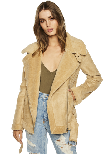 SUEDETTE FUR JACKET in colour HONEY PEACH