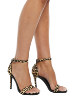 LEOPARD SQUARE TOE HEEL in colour ANTELOPE