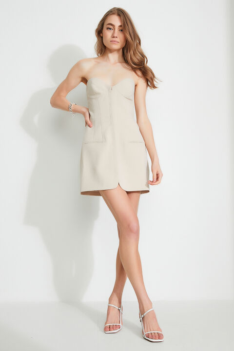 KATE MINI STRUCTURED DRESS  in colour HONEY MUSTARD