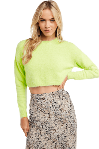 CROPPED FLUFFY KNIT in colour LIMELIGHT