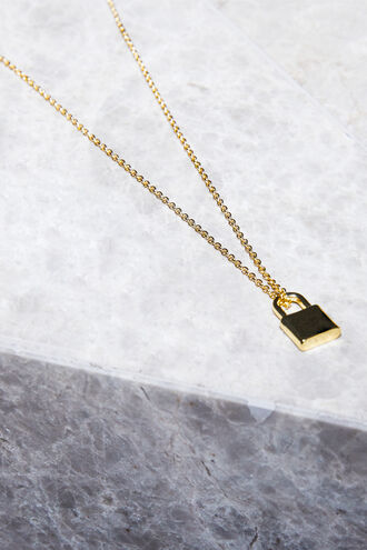 FINE PAD LOCK NECKLACE in colour GOLD EARTH