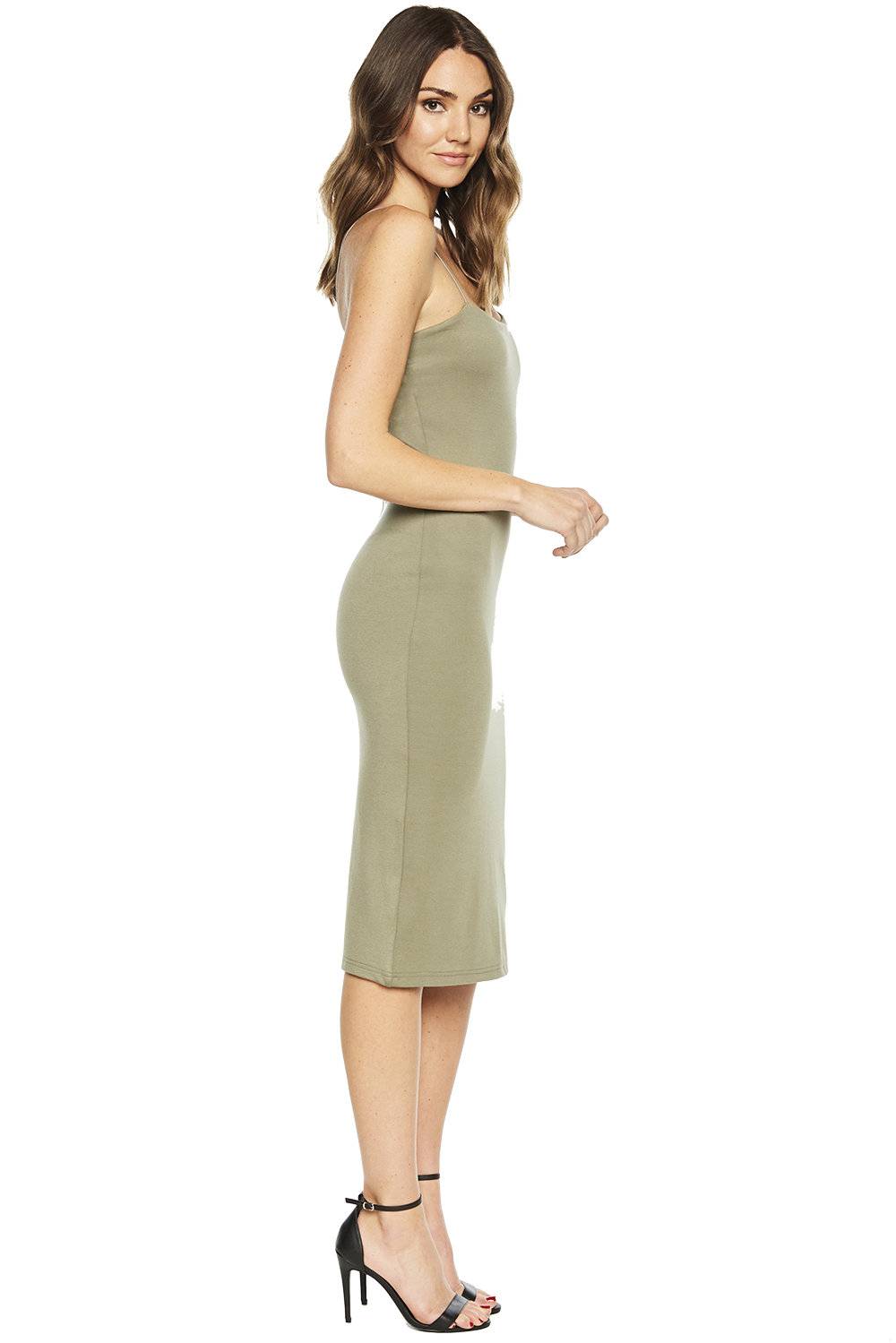 BIANCA MIDI DRESS in colour DEEP LICHEN GREEN