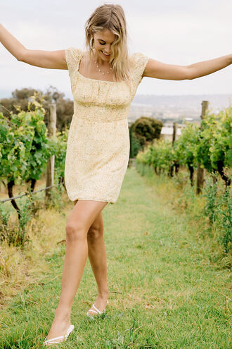 ELISA MINI DRESS in colour VIBRANT YELLOW