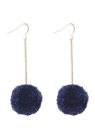 POM POM DROP EARRING in colour BLACK IRIS