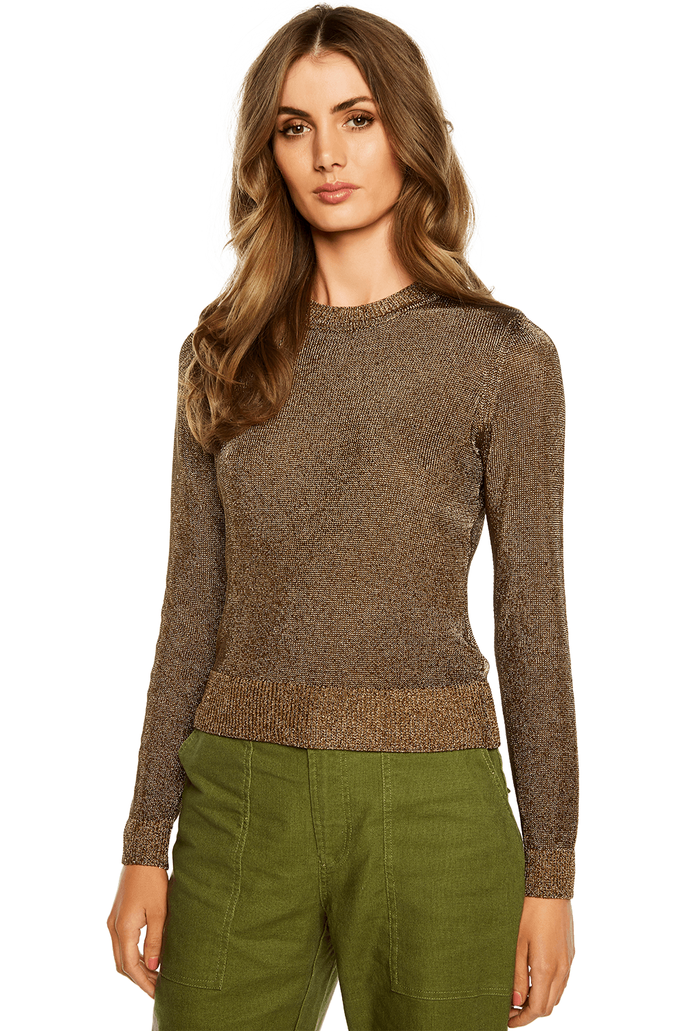 METALLIC LONG SLEEVE KNIT in colour SILVER