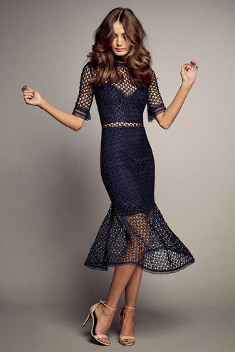 FIONA MESH DRESS in colour PATRIOT BLUE