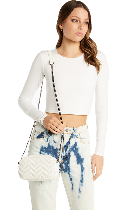 QUILTED PURSE BAG in colour WHITE ALYSSUM
