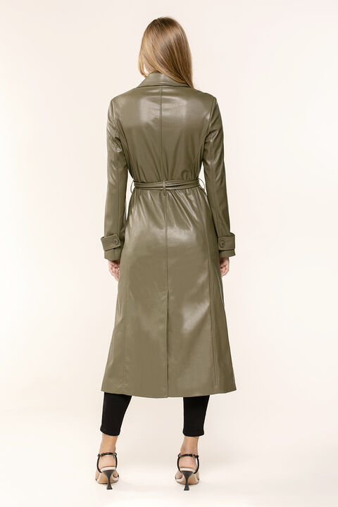 VEGAN LEATHER TRENCH COAT in colour IVY GREEN