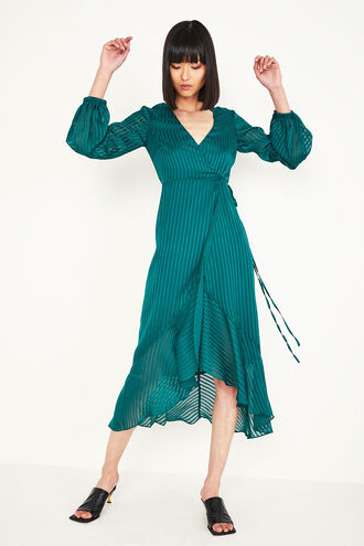 MIRELA WRAP DRES in colour DARK GREEN