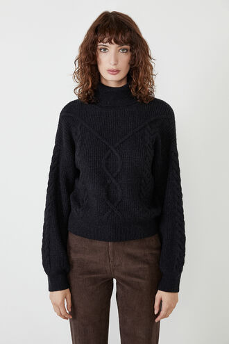 MAYA CABLE KNIT in colour CAVIAR