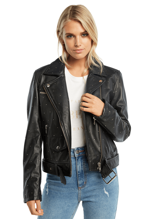 KIRA LEATHER JACKET in colour CAVIAR