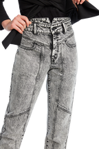 ACID WASH SPLICE JEAN in colour JET SET