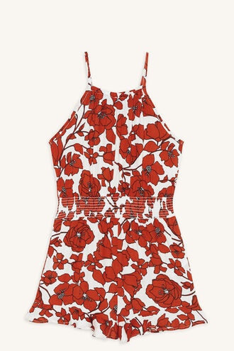 PRIMROSE PLAYSUIT in colour TOMATO