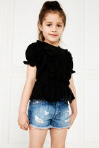 PIA RUFFLE TOP in colour JET BLACK