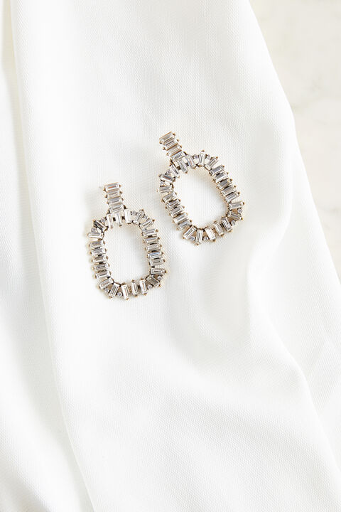 BAGUETTE CRYSTAL HOOP EARRINGS in colour MAUVE CHALK