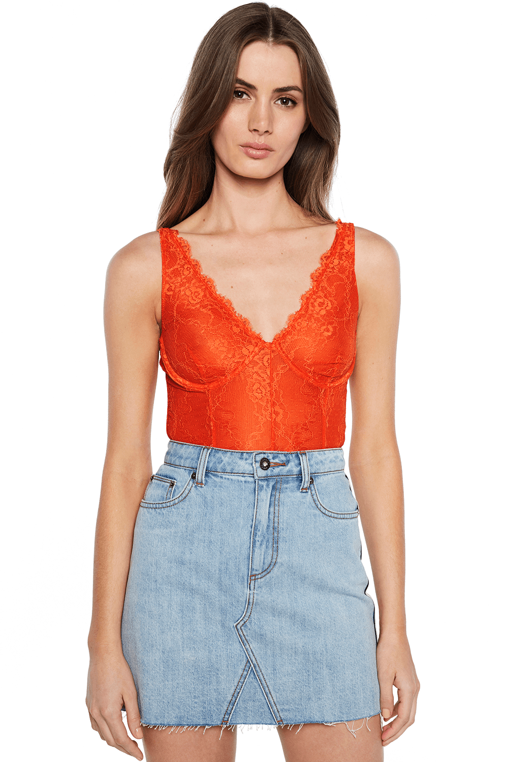 ESSIE LACE BODYSUIT in colour FLAME