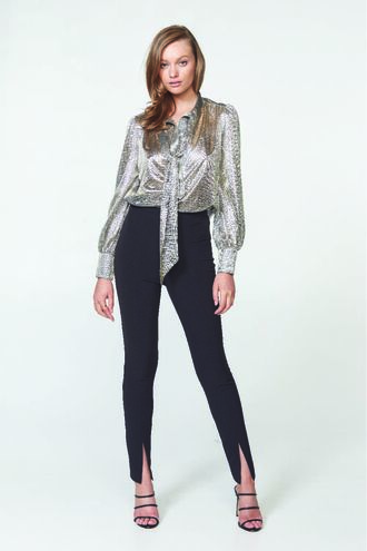 METALLIC BLOUSE in colour LUNAR ROCK