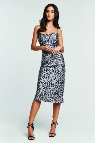 MAYAH LEOPARD SKIRT in colour WIND CHIME